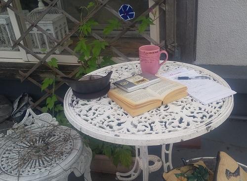 庭で読書、辞書は小さい電子辞書だけ