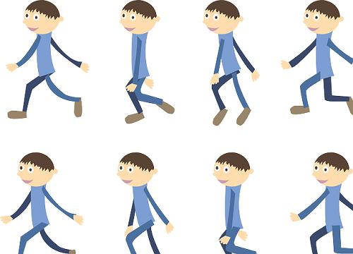 歩く少年の連続動作