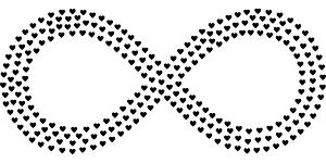 ハートで描かれた無限大マーク。